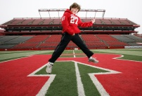 12-year-old Nicholas Sasso from South River, NJ has become a sensation at Rutgers University football games for his air guitar impersonation of Bon Jovi. Photo by David Gard/ The Star-Ledger