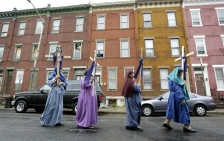 Members of The Cathedral of Saint Mary held a traditional stations of the cross march throught the streets of Trenton. Photo by David Gard/The Times of Trenton