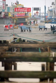 The boardwalk in Seaside Heights is heavily damaged the day after Hurricane Sandy landed. Tuesday, October 30, 2012. (Photo by David Gard/The Star-Ledger)
