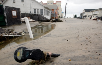 Sand fills the streets of Seaside Heights on the day after Hurricane Sandy landed. Tuesday, October 30, 2012. (Photo by David Gard/The Star-Ledger)