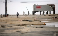 This is all that remains on the northern most part of the Seaside Heights boardwalk on the day after Hurricane Sandy landed. Tuesday, October 30, 2012. (Photo by David Gard/The Star-Ledger)