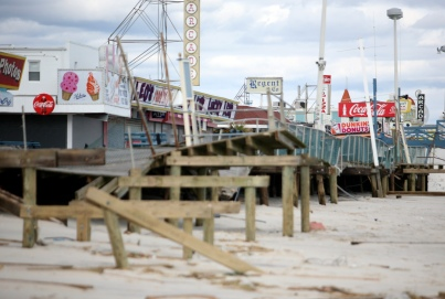 The Seaside Heights boardwalk was heavily damaged by Hurricane Sandy. Wednesday, October 31, 2012. (Photo by David Gard/The Star-Ledger)