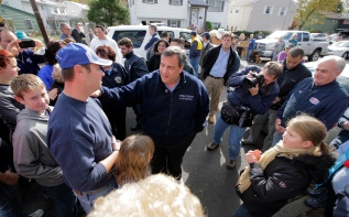 New Jersey Governor Chris Christie toured a section of Little Ferry, Bergen County, that was flooded when Hurricane Sandy caused a berm to fail along the Hackensack River. Saturday, November 03, 2012. (Photo by David Gard/POOL/The Star-Ledger)New Jersey Governor Chris Christie toured a section of Little Ferry, Bergen County, that was flooded when Hurricane Sandy caused a tidal surge on the Hackensack River that overtook a natural berm protecting the town. Saturday, November 03, 2012. (Photo by David Gard/The Star-Ledger)