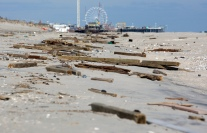 Debris litters the beach in Seaside Park looking north towards Seaside Heights. Monday, November 05, 2012. (Photo by David Gard/The Star-Ledger)