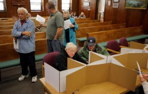 Ocean County officials are allowing Hurricane Sandy affected residents to vote early. Voting continues at the Ocean County Administration Building in Toms River. Monday, November 05, 2012. (Photo by David Gard/The Star-Ledger)